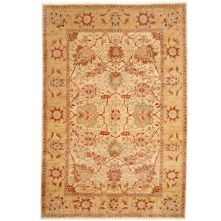 Herat Oriental Afghan Hand-knotted Tribal Oushak Wool Rug (6' x 9')
