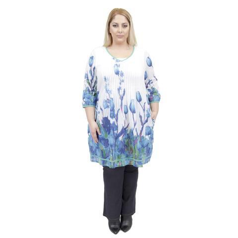 La Cera Women's Plus Size 3/4 Sleeve Pleated Front Dress