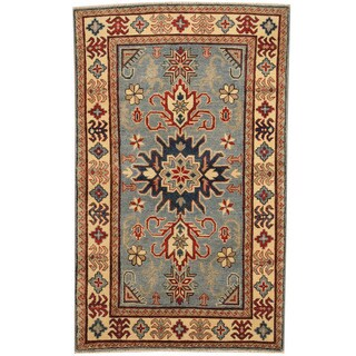 Herat Oriental Afghan Hand-knotted Tribal Kazak Blue/ Ivory Wool Rug (3'10 x 5'5)