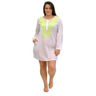 La Cera Women's Plus Size Long Sleeve Button Front Coverup