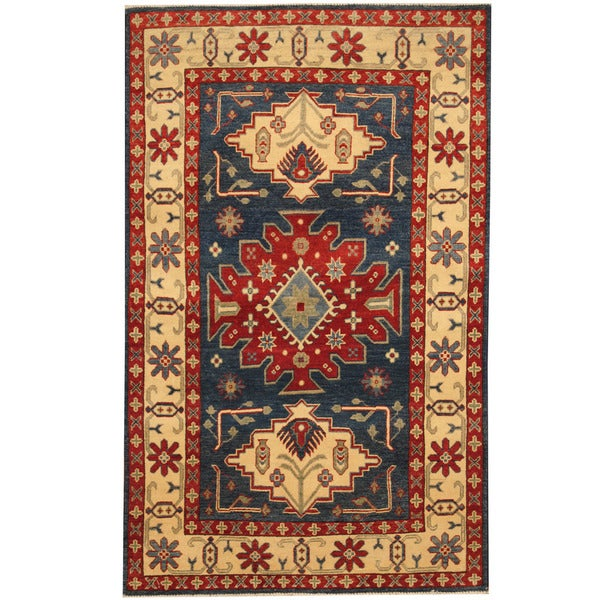 Herat Oriental Afghan Hand-knotted Tribal Kazak Wool Rug (3'10 x 6'3)