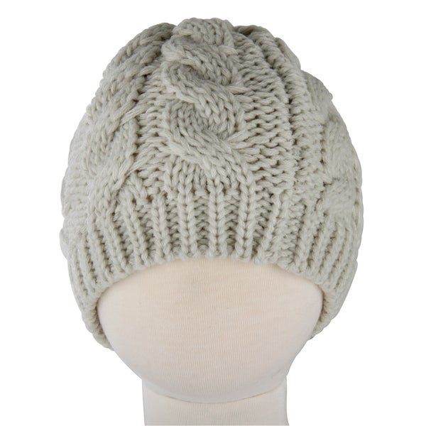 Crummy Bunny Small Beige Cable Knit Beanie