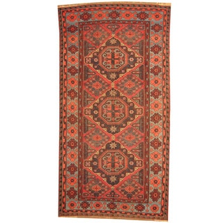 Herat Oriental Russian Hand-woven 1940's Semi-antique Tribal Soumak Kilim Wool Rug (5'6 x 10'8)