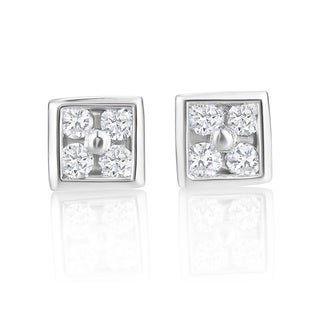 Andrew Charles 14k White Gold 1/10ct TDW Diamond Stud Earrings (H-I, SI2-I1)