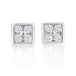 Andrew Charles 14k White Gold 1/10ct TDW Diamond Stud Earrings