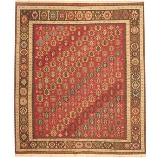 Herat Oriental Indo Hand-woven Tribal Soumak Kilim Wool Rug (8'3 x 9'4)
