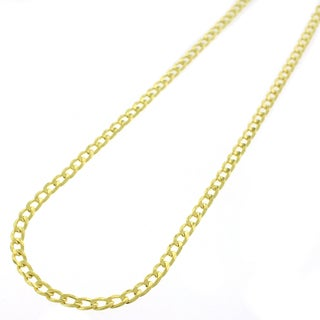 Yellow Goldplated Sterling Silver 3mm Solid Cuban Curb Link ITProLux Chain Necklace