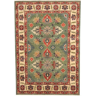 Herat Oriental Afghan Hand-knotted Tribal Kazak Green/ Ivory Wool Rug (4'10 x 7'2)