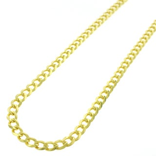 Yellow Goldplated Sterling Silver 5mm Solid Cuban Curb Link ITProLux Chain Necklace