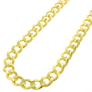 Yellow Goldplated Sterling Silver 8.5mm Solid Cuban Curb Link ITProLux Chain Necklace