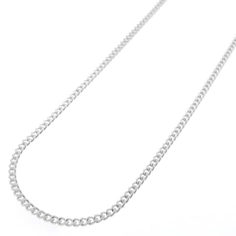 ".925 Solid Sterling Silver 2MM Cuban Curb Link Necklace Chain 16"" - 30"", Silver Chain for Men & Women, Made in Italy"