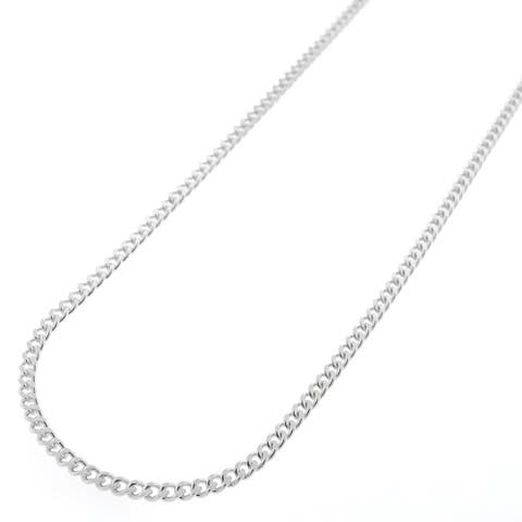 """Authentic Solid Sterling Silver 2mm Cuban Curb Link .925 ITProLux Necklace Chains 16"""" - 30"""", Men & Women, Made In Italy"""