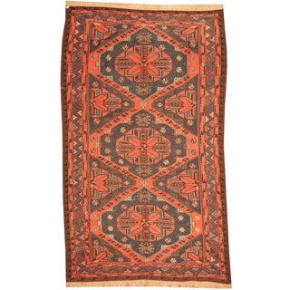 Herat Oriental Russian Hand-woven 1940's Semi-antique Tribal Soumak Kilim Wool Rug (5'10 x 9'8)