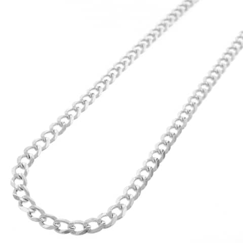 """Authentic Solid Sterling Silver 5mm Cuban Curb Link .925 ITProLux Necklace Chains 16"""" - 30"""", Men & Women, Made In Italy"""