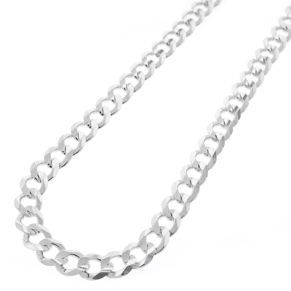 Shop 925 Solid Sterling Silver 7mm Cuban Curb Link Necklace Chain 20 30 Silver Chain For Men Women Made In Italy Overstock 11408483