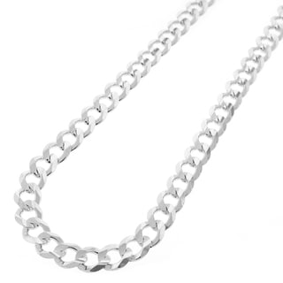 Sterling Silver 7mm Solid Cuban Curb Link ITProLux Chain Necklace