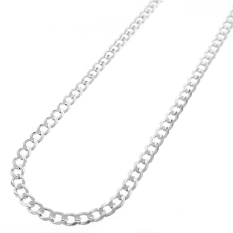 """.925 Solid Sterling Silver 4MM Cuban Curb Link Necklace Chain 16"""" - 30"""", Silver Chain for Men & Women, Made in Italy"""