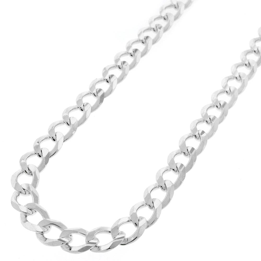 Shop 925 Solid Sterling Silver 7 5mm Cuban Curb Link Necklace Chain 20 30 Silver Chain For Men Women Made In Italy Overstock 11408485