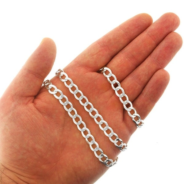 """MADE IN ITALY 925 Sterling silver 4mm wide CURB 16/""""-26/"""" CHAIN NECKLACE UNISEX"""
