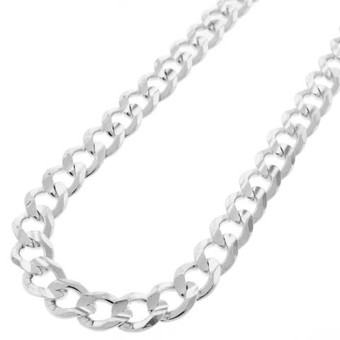 """.925 Solid Sterling Silver 8.5MM Cuban Curb Link Necklace Chain 20"""" - 30"""", Silver Chain for Men & Women, Made in Italy"""