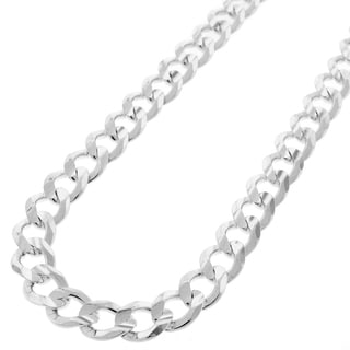 "Authentic Solid Sterling Silver 8.5mm Cuban Curb Link .925 ITProLux Necklace Chains 20"" - 30"", Men & Women, Made In Italy"
