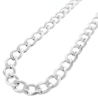 Sterling Silver 10.5mm Solid Cuban Curb Link ITProLux Chain Necklace