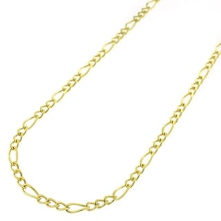 Yellow Goldplated Sterling Silver 2.5mm Solid Figaro Link ITProLux Chain Necklace