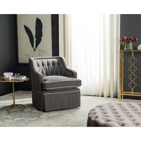 "Safavieh Truitt Grey/ White Swivel Club Chair - 27.6""x33.5""x33.1"""