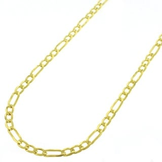 Yellow Goldplated Sterling Silver 3mm Solid Figaro Link ITProLux Chain Necklace