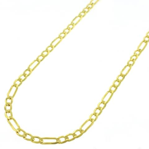 """Authentic Solid Sterling Silver 3mm Figaro Link .925 ITProLux Yellow Gold Necklace Chains 16"""" - 24"""", Made In Italy"""