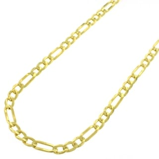 Yellow Goldplated Sterling Silver 3.5mm Solid Figaro Link ITProLux Chain Necklace