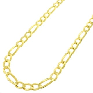 Yellow Goldplated Sterling Silver 5mm Solid Figaro Link ITProLux Chain Necklace