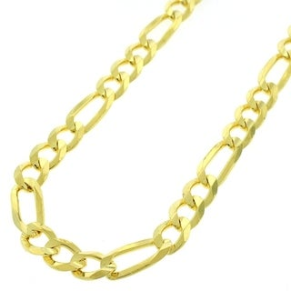 Yellow Goldplated Sterling Silver 7.5mm Solid Figaro Link ITProLux Chain Necklace