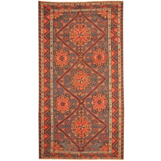 Herat Oriental Russian Hand-woven 1940's Semi-antique Tribal Soumak Kilim Wool Rug (6' x 11')