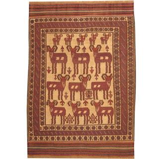 Herat Oriental Afghan Hand-woven Tribal Soumak Kilim Wool Rug (6'6 x 9'2)