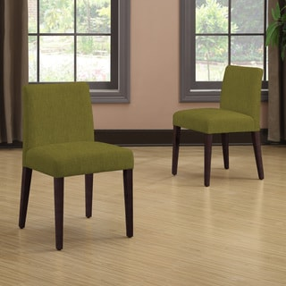 Portfolio Amity Apple Green Linen Armless Dining Chair Set (Set of 2)