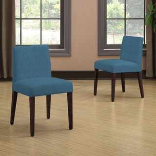 Handy Living Amity Caribbean Blue Linen Armless Dining Chair Set (Set of 2)