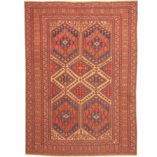 Herat Oriental Afghan Hand-woven Tribal Soumak Kilim Wool Rug (6'8 x 8'10)