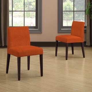 Handy Living Amity Orange Linen Armless Dining Chair Set (Set of 2)