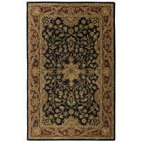 Hand-tufted Regal Black/ Burgundy Wool Rug (8' x 11') - 8' x 11'