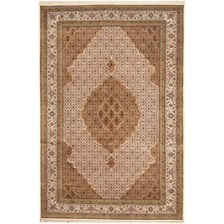 Herat Oriental Indo Hand-knotted Tribal Tabriz Wool and Silk Rug (6'7 x 9'9)