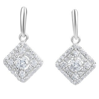 Andrew Charles 14k White Gold 1 1/5ct TDW Diamond Dangling Earrings (H-I, SI2-I1)