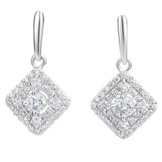 SummerRose 14k White Gold 1 1/5ct TDW Diamond Dangling Earrings - White H-I