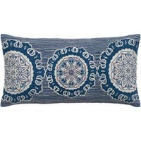 Rizzy Home Blue Medallion Patterned Throw Pillow