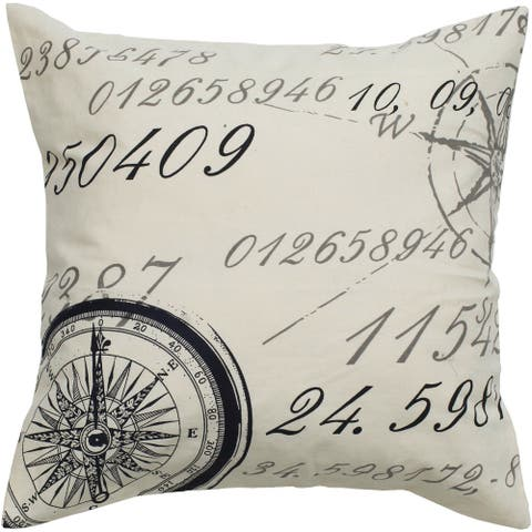 Rizzy Home Black & Beige Compass Patterned 20-inch Throw Pillow