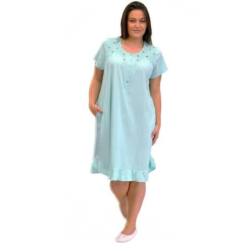 La Cera Women's Plus Size Short Sleeve Rosebud Short Gown