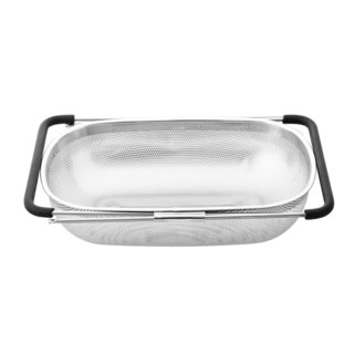 Cook N Home Stainless Steel Micro Perforated Colander Over the Sink Expendable Handle