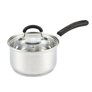 Cook N Home Silver Stainless Steel Cookware 2-quart Medium Sauce Pan with Lid