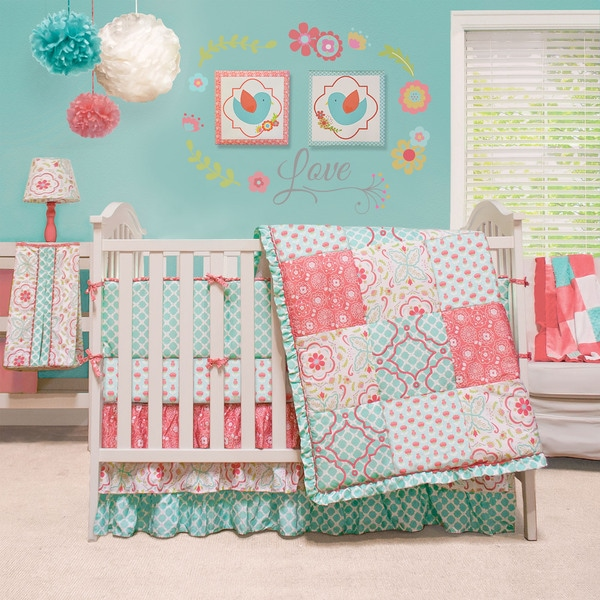 shop the peanut shell mila 4 piece girl crib bedding set free shipping today. Black Bedroom Furniture Sets. Home Design Ideas