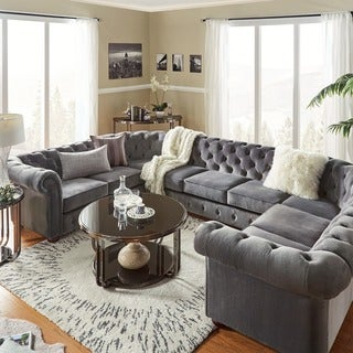 Knightsbridge Tufted Scroll Arm Chesterfield 9-seat U-shaped Sectional by iNSPIRE Q Artisan (4 options available)